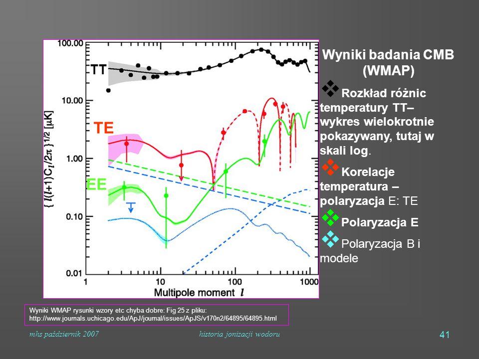 mhs październik 2007historia jonizacji wodoru 41 Wyniki badania CMB (WMAP)  Rozkład różnic temperatury TT– wykres wielokrotnie pokazywany, tutaj w sk