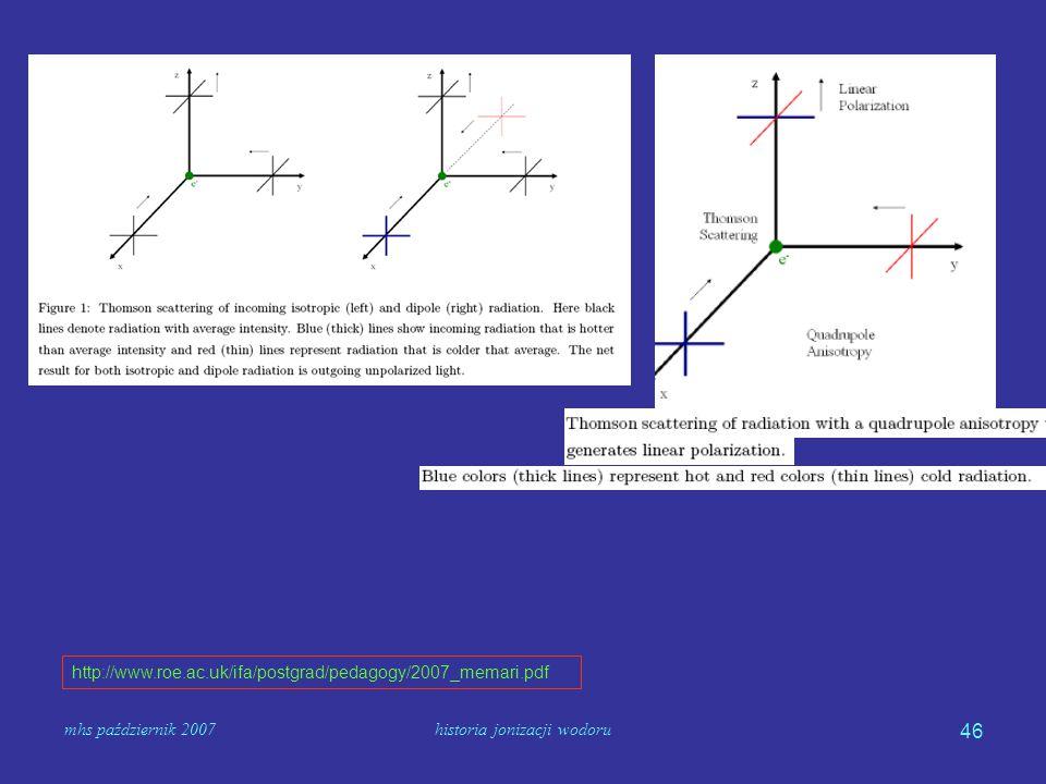 mhs październik 2007historia jonizacji wodoru 46 http://www.roe.ac.uk/ifa/postgrad/pedagogy/2007_memari.pdf
