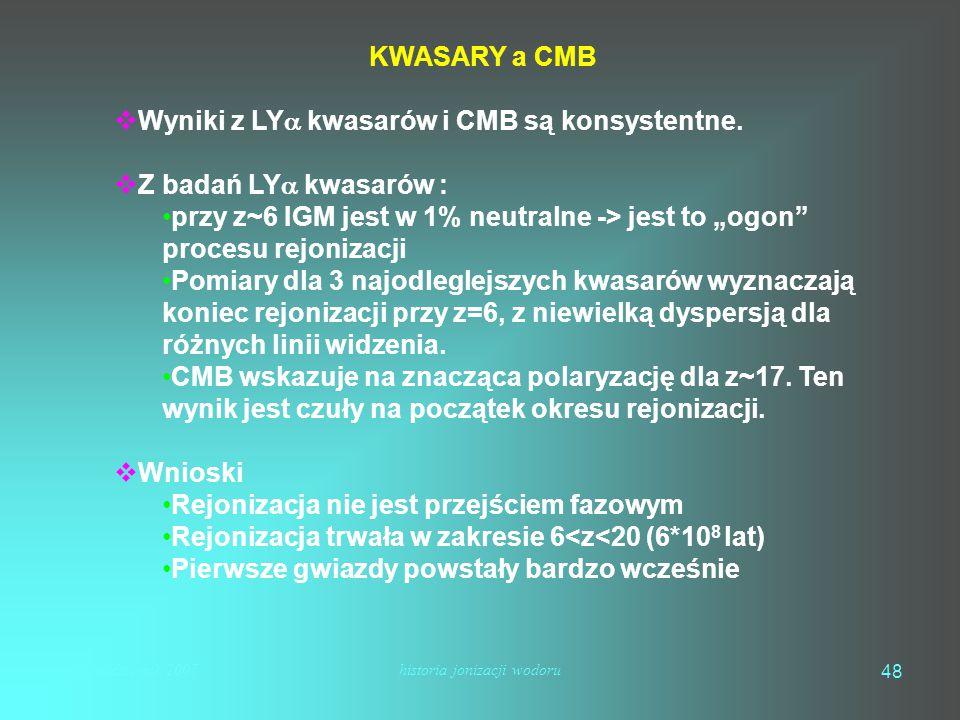 mhs październik 2007historia jonizacji wodoru 48 KWASARY a CMB  Wyniki z LY  kwasarów i CMB są konsystentne.  Z badań LY  kwasarów : przy z~6 IGM