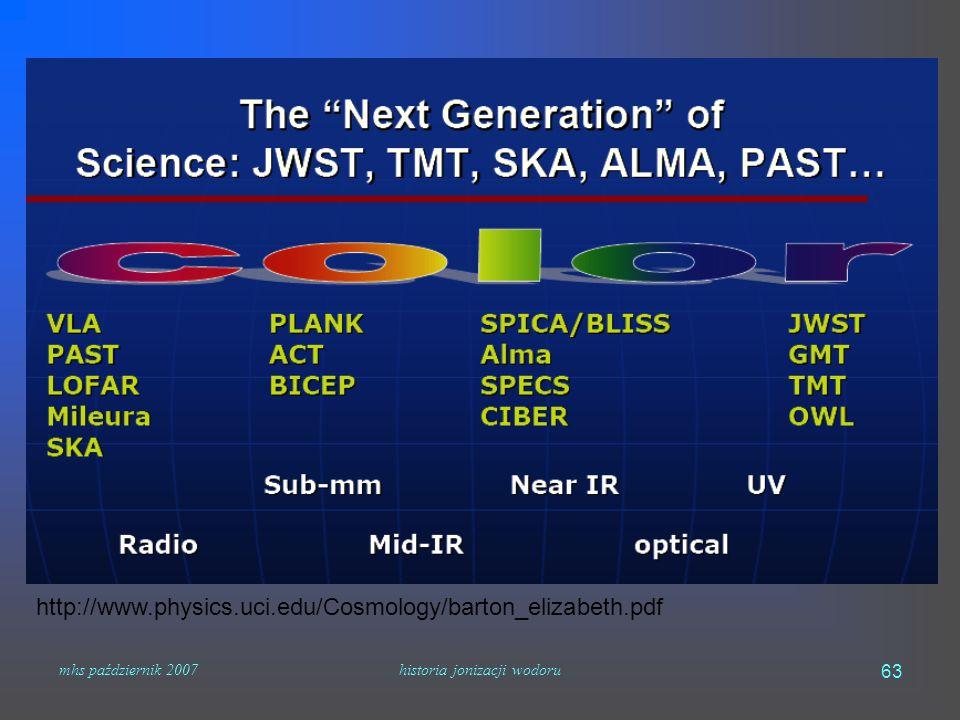 mhs październik 2007historia jonizacji wodoru 63 http://www.physics.uci.edu/Cosmology/barton_elizabeth.pdf
