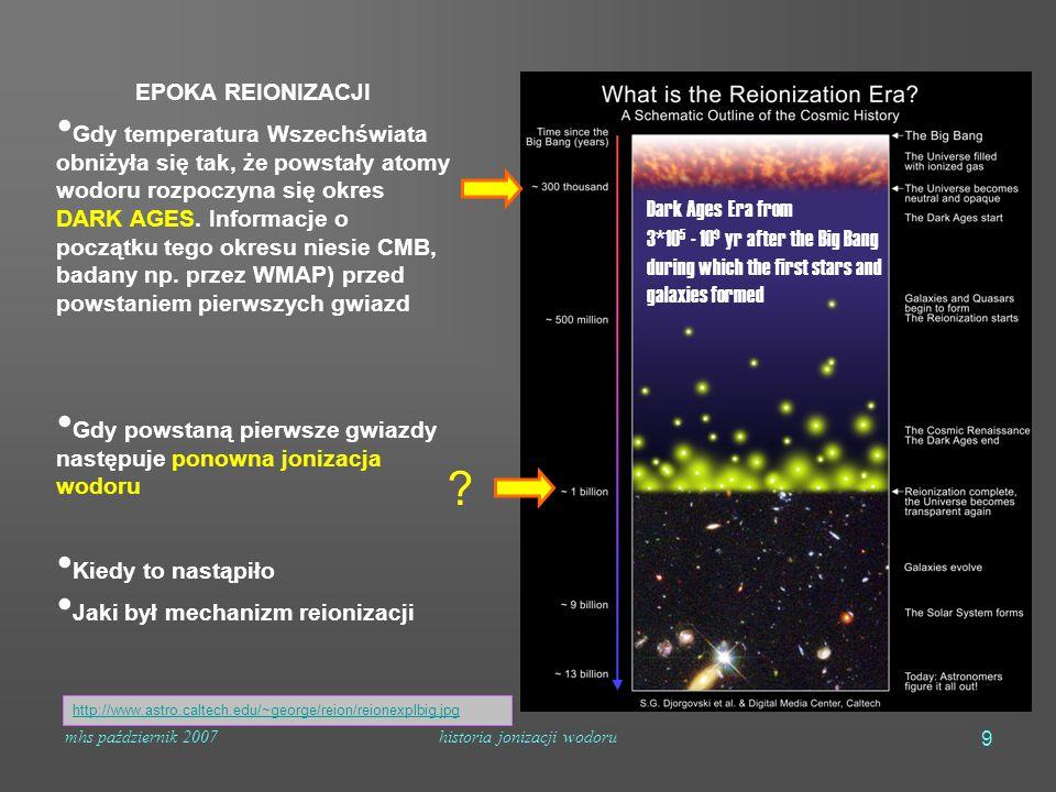 mhs październik 2007historia jonizacji wodoru 9 EPOKA REIONIZACJI Gdy temperatura Wszechświata obniżyła się tak, że powstały atomy wodoru rozpoczyna się okres DARK AGES.