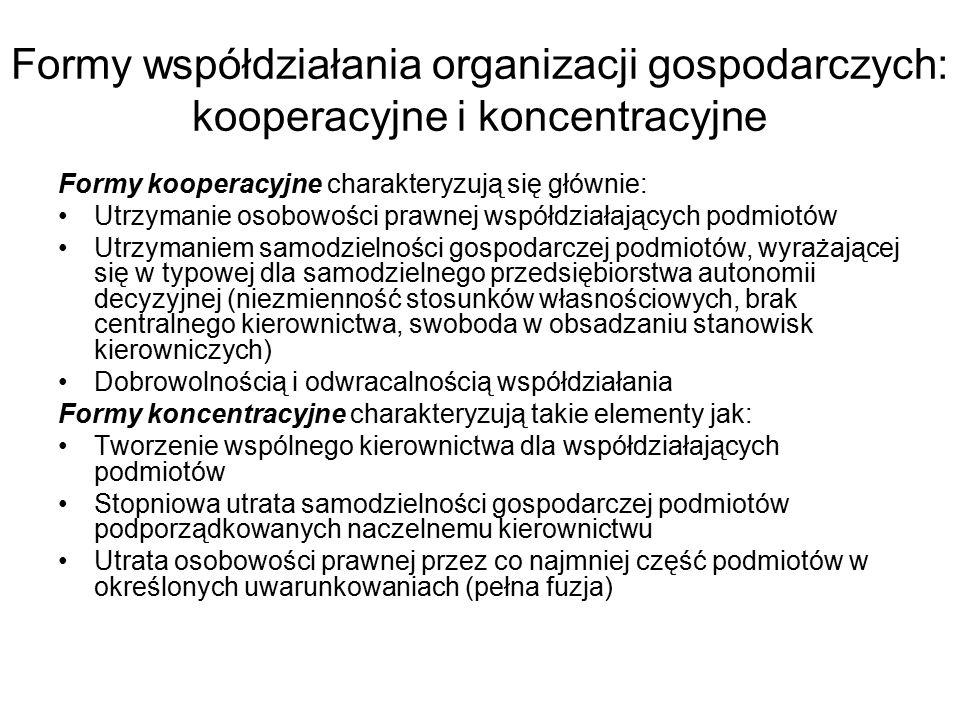 Formy współdziałania organizacji gospodarczych: kooperacyjne i koncentracyjne Formy kooperacyjne charakteryzują się głównie: Utrzymanie osobowości pra