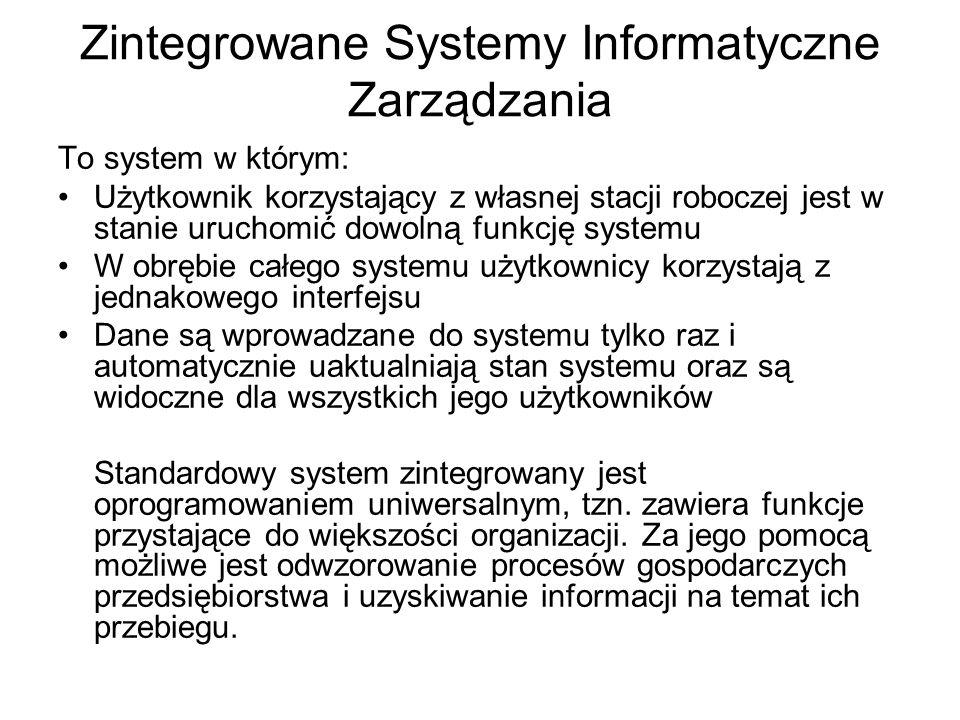 Zintegrowane Systemy Informatyczne Zarządzania To system w którym: Użytkownik korzystający z własnej stacji roboczej jest w stanie uruchomić dowolną f