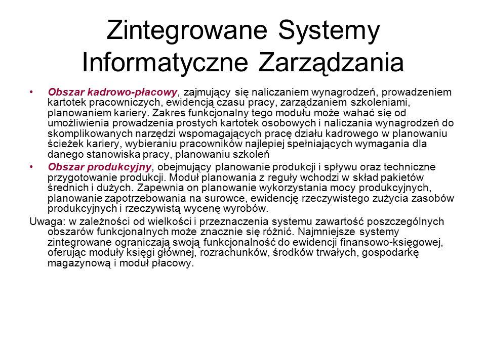 Zintegrowane Systemy Informatyczne Zarządzania Obszar kadrowo-płacowy, zajmujący się naliczaniem wynagrodzeń, prowadzeniem kartotek pracowniczych, ewi