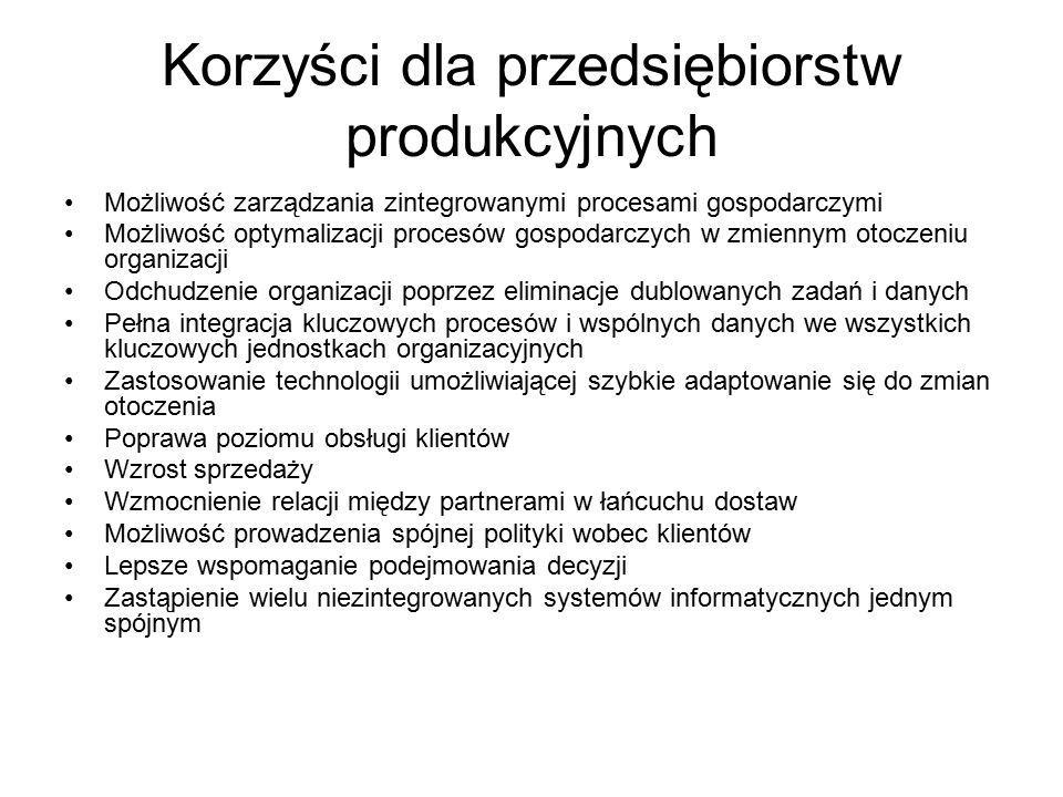 Korzyści dla przedsiębiorstw produkcyjnych Możliwość zarządzania zintegrowanymi procesami gospodarczymi Możliwość optymalizacji procesów gospodarczych