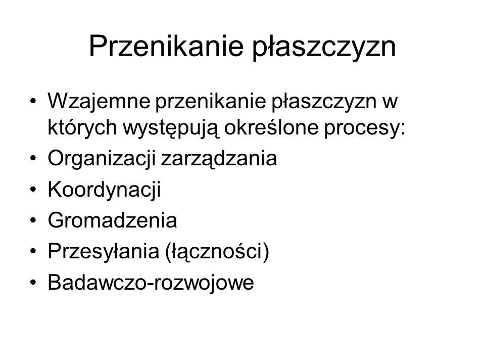Przenikanie płaszczyzn Wzajemne przenikanie płaszczyzn w których występują określone procesy: Organizacji zarządzania Koordynacji Gromadzenia Przesyła