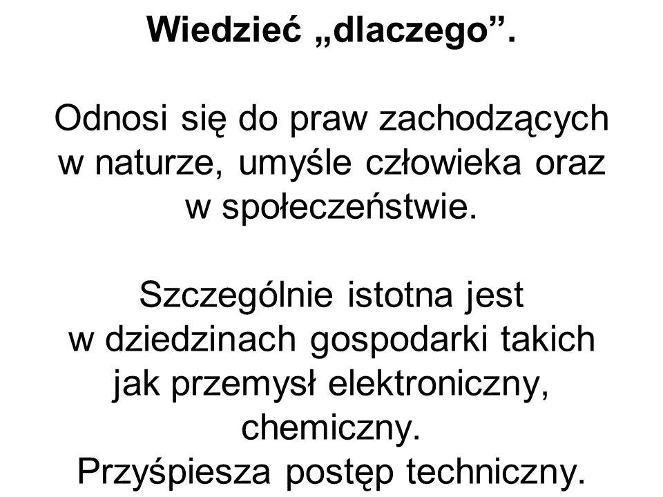 """Wiedzieć """"co"""". Odnosi się do wiedzy o faktach Na przykład: ilu studentów ma Akademia Ekonomiczna w Krakowie, ile ton truskawek zebrano w województwie"""