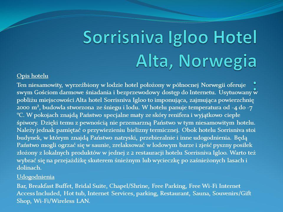 Opis hotelu Ten niesamowity, wyrzeźbiony w lodzie hotel położony w północnej Norwegii oferuje swym Gościom darmowe śniadania i bezprzewodowy dostęp do