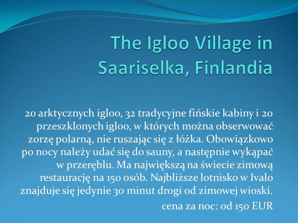 20 arktycznych igloo, 32 tradycyjne fińskie kabiny i 20 przeszklonych igloo, w których można obserwować zorzę polarną, nie ruszając się z łóżka. Obowi