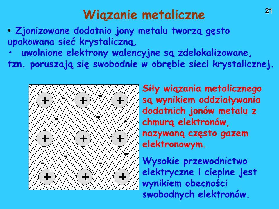 21 Zjonizowane dodatnio jony metalu tworzą gęsto upakowana sieć krystaliczną, uwolnione elektrony walencyjne są zdelokalizowane, tzn.