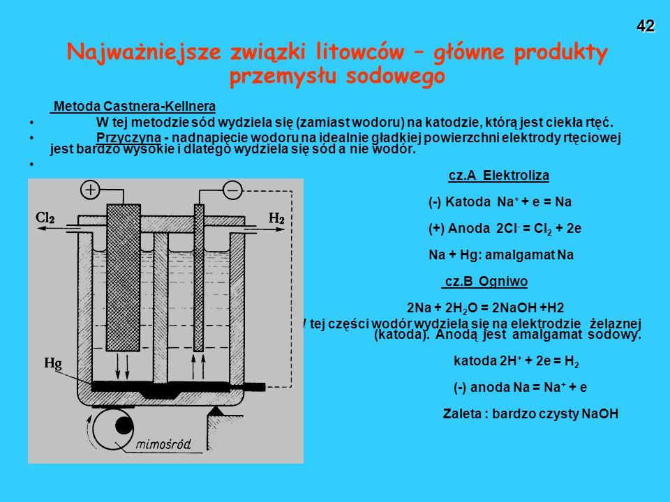 42 Najważniejsze związki litowców – główne produkty przemysłu sodowego Metoda Castnera-Kellnera W tej metodzie sód wydziela się (zamiast wodoru) na katodzie, którą jest ciekła rtęć.