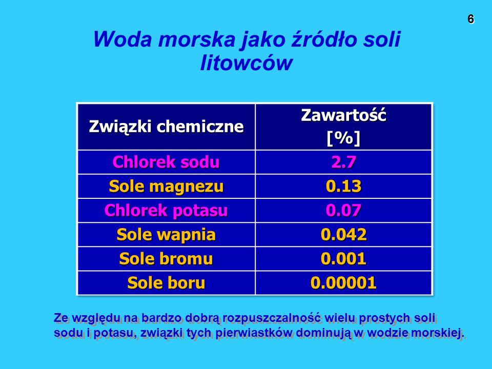 6 Woda morska jako źródło soli litowców Ze względu na bardzo dobrą rozpuszczalność wielu prostych soli sodu i potasu, związki tych pierwiastków dominują w wodzie morskiej.