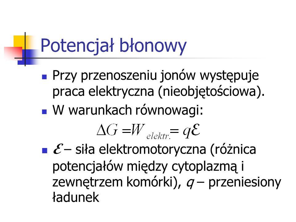 Potencjał błonowy Przy przenoszeniu jonów występuje praca elektryczna (nieobjętościowa).