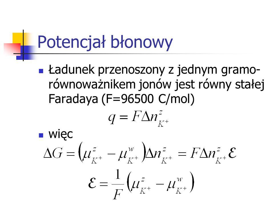 Potencjał błonowy Ładunek przenoszony z jednym gramo- równoważnikem jonów jest równy stałej Faradaya (F=96500 C/mol) więc