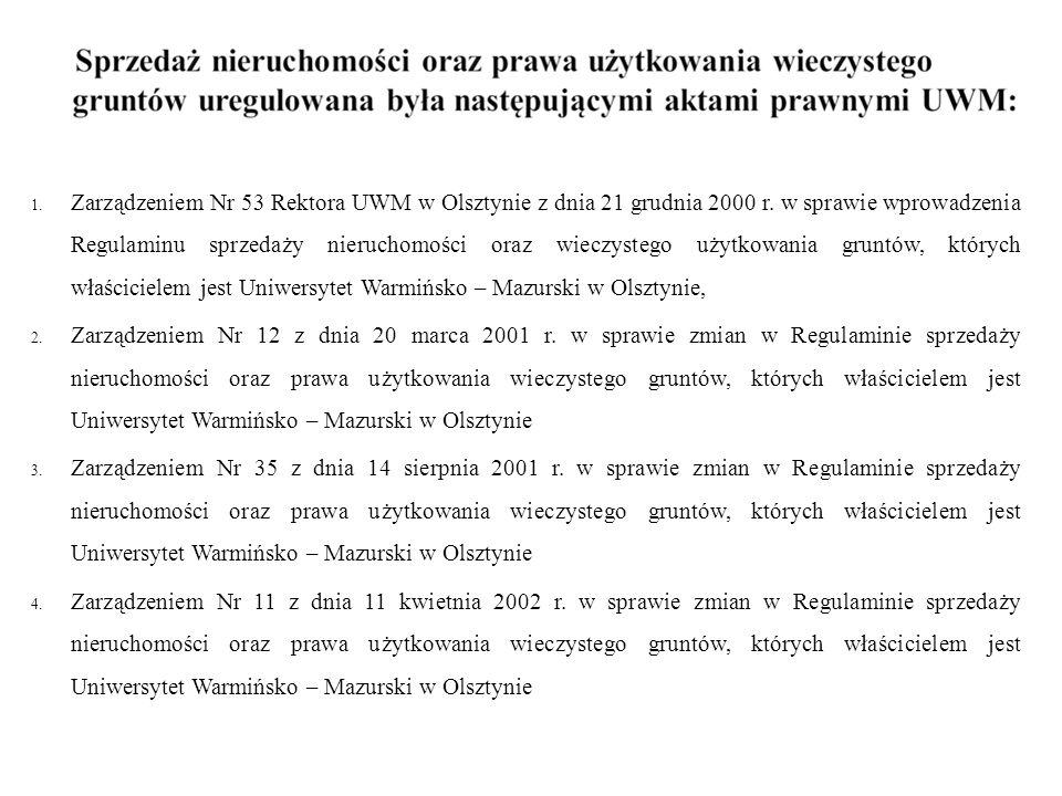 1. Zarządzeniem Nr 53 Rektora UWM w Olsztynie z dnia 21 grudnia 2000 r. w sprawie wprowadzenia Regulaminu sprzedaży nieruchomości oraz wieczystego uży