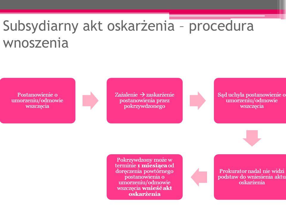 Subsydiarny akt oskarżenia – procedura wnoszenia Postanowienie o umorzeniu/odmowie wszczęcia Zażalenie  zaskarżenie postanowienia przez pokrzywdzoneg