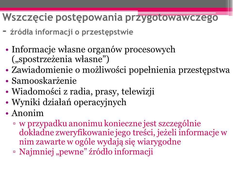"""Wszczęcie postępowania przygotowawczego - źródła informacji o przestępstwie Informacje własne organów procesowych (""""spostrzeżenia własne"""") Zawiadomien"""