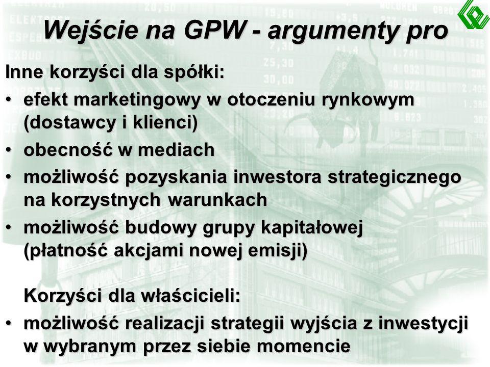 Wejście na GPW - argumenty pro Korzyści finansowe dla spółki: dostęp do kapitału o znacznej wartości (akcje, obligacje)dostęp do kapitału o znacznej w