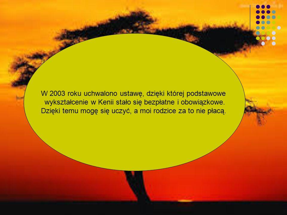 W 2003 roku uchwalono ustawę, dzięki której podstawowe wykształcenie w Kenii stało się bezpłatne i obowiązkowe.