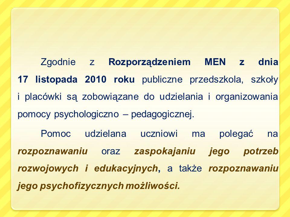 Zgodnie z Rozporządzeniem MEN z dnia 17 listopada 2010 roku publiczne przedszkola, szkoły i placówki są zobowiązane do udzielania i organizowania pomo