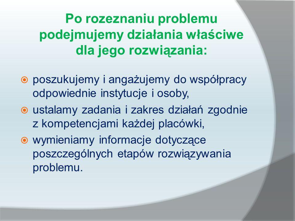 Po rozeznaniu problemu podejmujemy działania właściwe dla jego rozwiązania:  poszukujemy i angażujemy do współpracy odpowiednie instytucje i osoby, 