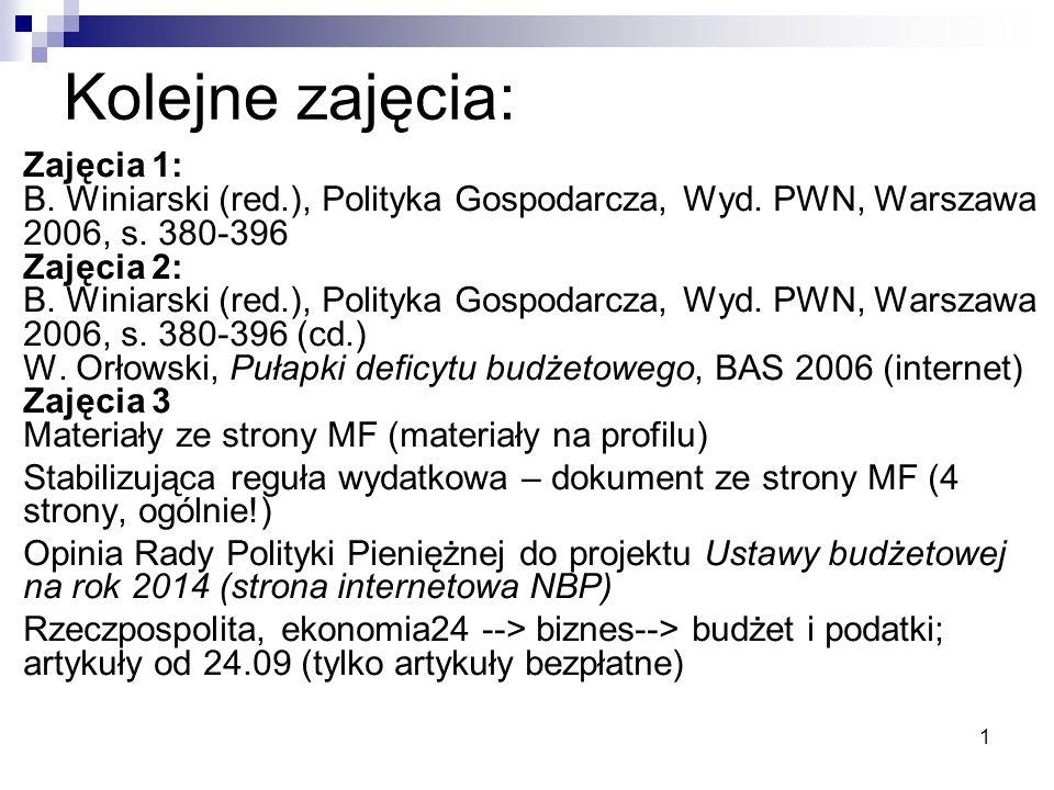 1 Kolejne zajęcia: Zajęcia 1: B. Winiarski (red.), Polityka Gospodarcza, Wyd. PWN, Warszawa 2006, s. 380-396 Zajęcia 2: B. Winiarski (red.), Polityka