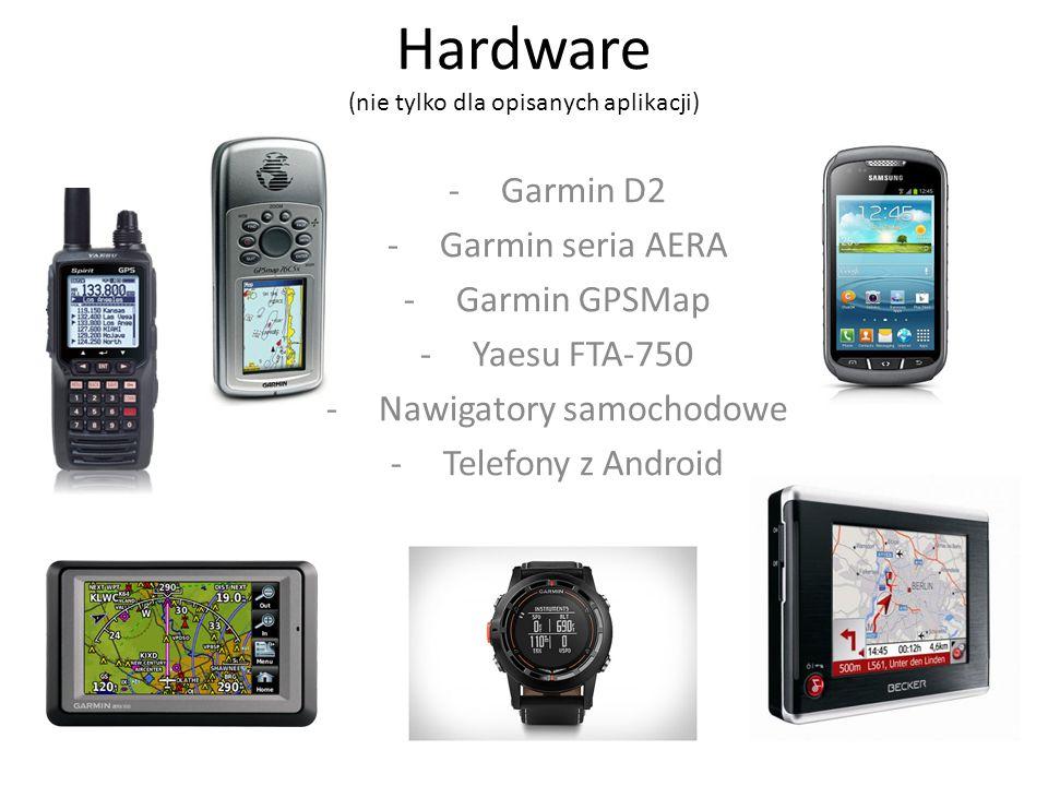 Hardware (nie tylko dla opisanych aplikacji) -Garmin D2 -Garmin seria AERA -Garmin GPSMap -Yaesu FTA-750 -Nawigatory samochodowe -Telefony z Android