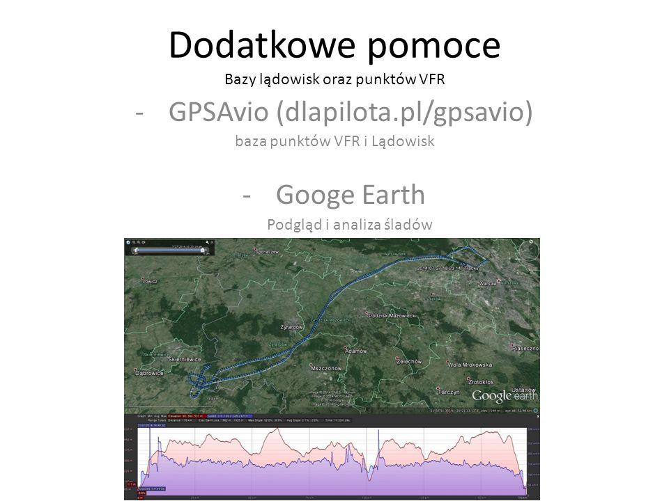 Dodatkowe pomoce Bazy lądowisk oraz punktów VFR -GPSAvio (dlapilota.pl/gpsavio) baza punktów VFR i Lądowisk -Googe Earth Podgląd i analiza śladów