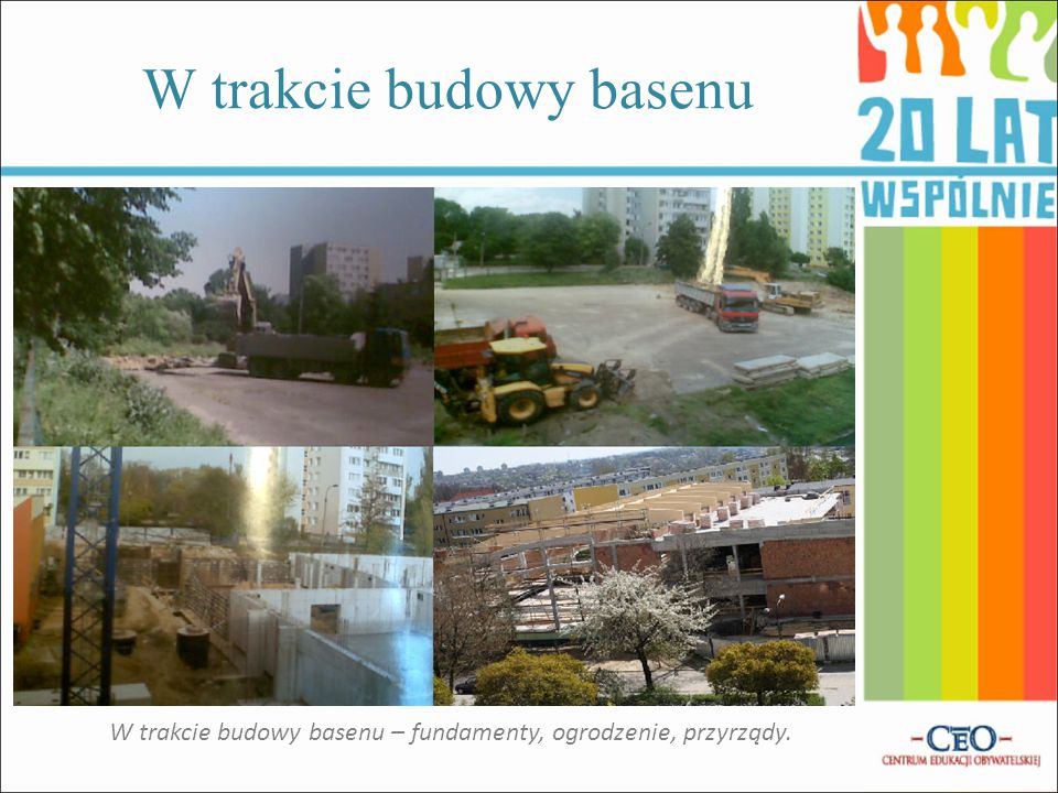 Zdjęcia szkoły przed budową basenu Rozbieranie koszy...