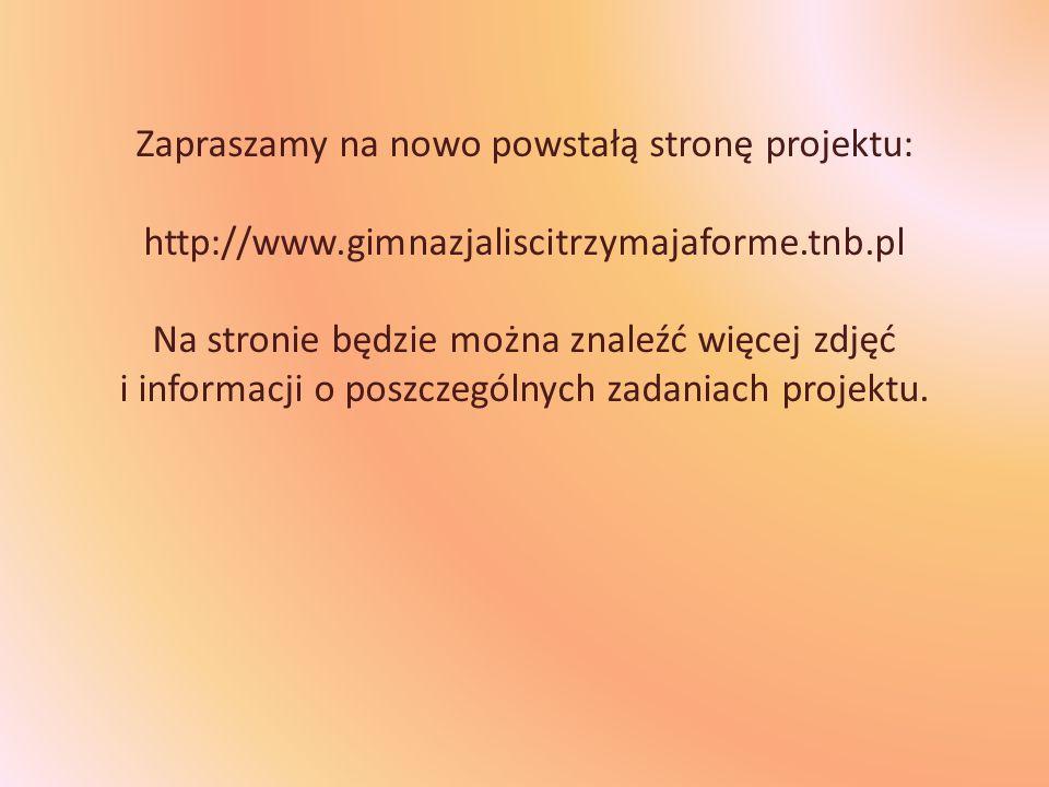 Zapraszamy na nowo powstałą stronę projektu: http://www.gimnazjaliscitrzymajaforme.tnb.pl Na stronie będzie można znaleźć więcej zdjęć i informacji o