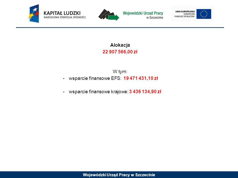 Wojewódzki Urząd Pracy w Szczecinie Alokacja 22 907 566,00 zł W tym: -wsparcie finansowe EFS: 19 471 431,10 zł -wsparcie finansowe krajowe: 3 436 134,90 zł