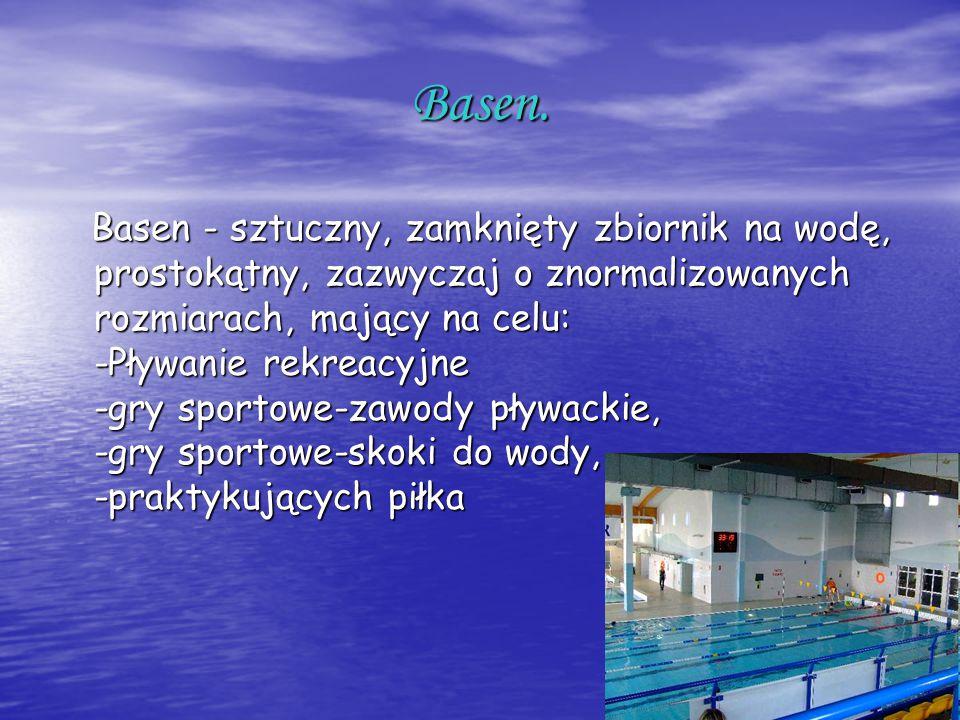 Basen. Basen - sztuczny, zamknięty zbiornik na wodę, prostokątny, zazwyczaj o znormalizowanych rozmiarach, mający na celu: -Pływanie rekreacyjne -gry