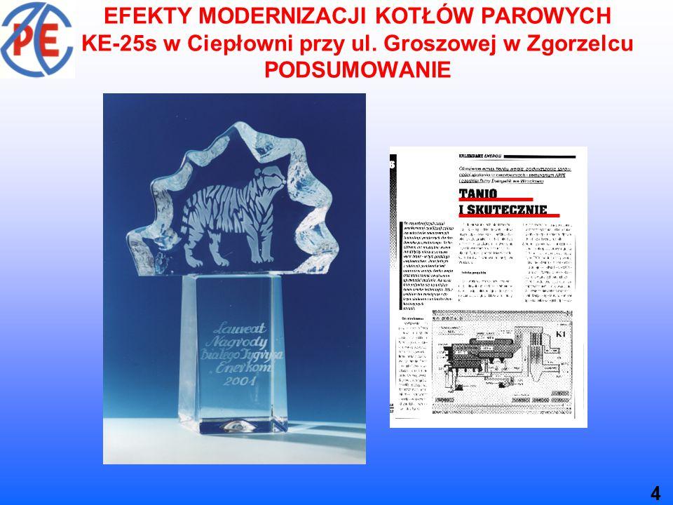 EFEKTY MODERNIZACJI KOTŁÓW PAROWYCH KE-25s w Ciepłowni przy ul.