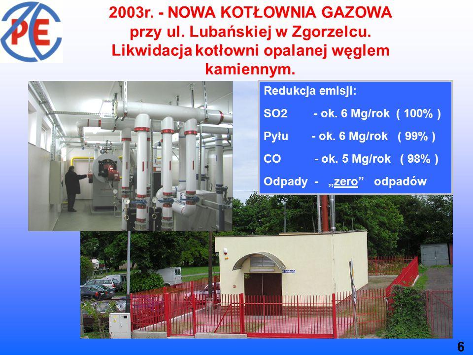 2003r. - NOWA KOTŁOWNIA GAZOWA przy ul. Lubańskiej w Zgorzelcu.