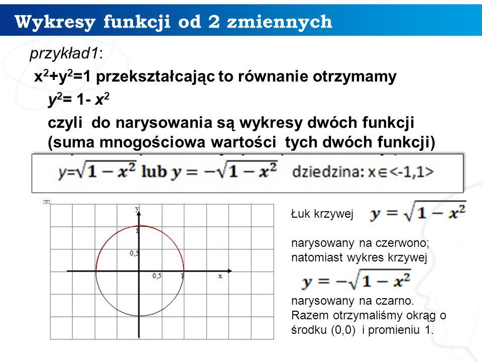 Wykresy funkcji od 2 zmiennych 8 jak Excel poradzi sobie z narysowaniem okręgu x 2 +y 2 =1:  Zakres danych x pierwsza kolumna od -1 do 1 wypełnione serią co 0,01  Druga kolumna pierwsza funkcja y1=pierwiastek(1-x*x) (kopiowana formuła z adresowaniem względnym)  Trzecia kolumna druga funkcja y2=-pierwiastek(1-x*x) również kopiowana formuła z adresowaniem względnym)