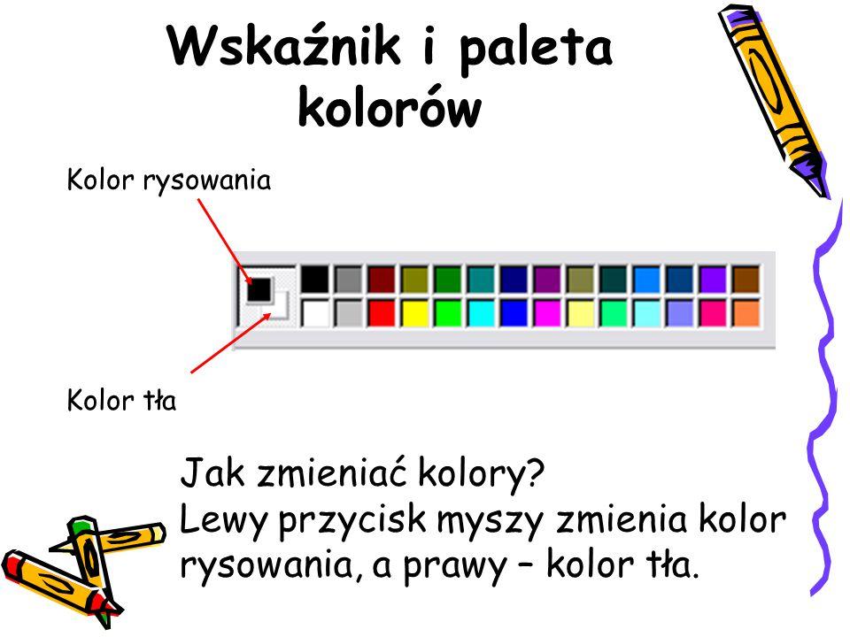 Wskaźnik i paleta kolorów Kolor rysowania Kolor tła Jak zmieniać kolory? Lewy przycisk myszy zmienia kolor rysowania, a prawy – kolor tła.