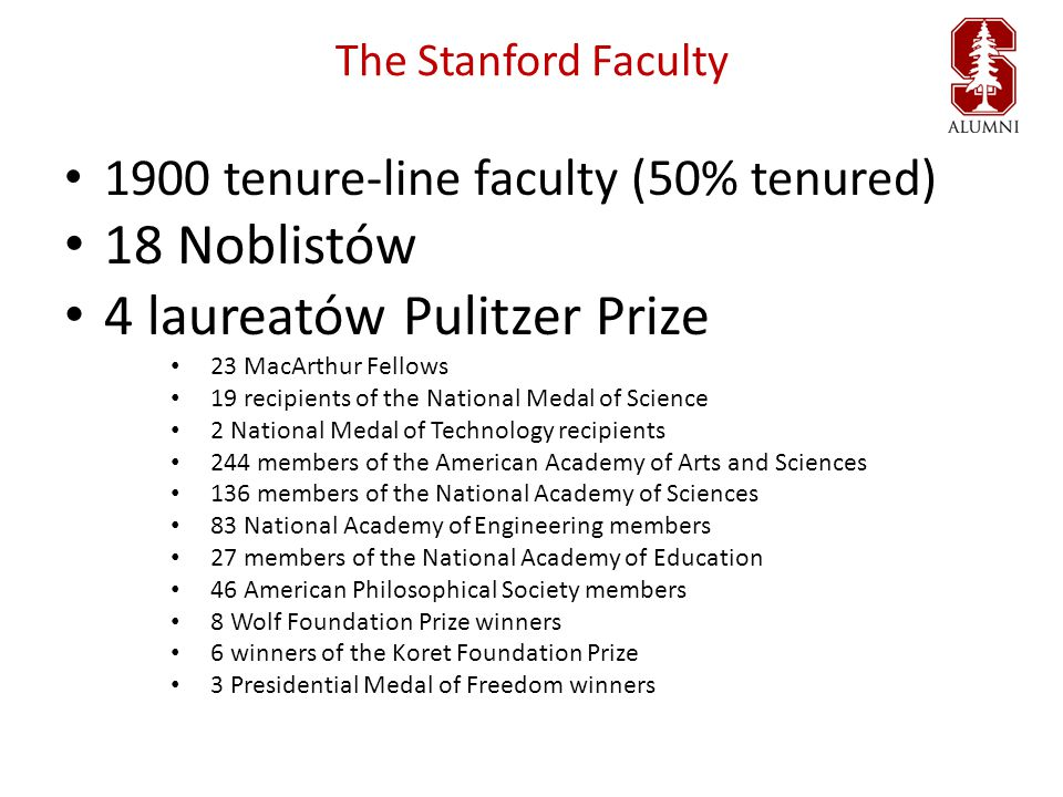 The Stanford Faculty 1900 tenure-line faculty (50% tenured) 18 Noblistów 4 laureatów Pulitzer Prize 23 MacArthur Fellows 19 recipients of the National Medal of Science 2 National Medal of Technology recipients 244 members of the American Academy of Arts and Sciences 136 members of the National Academy of Sciences 83 National Academy of Engineering members 27 members of the National Academy of Education 46 American Philosophical Society members 8 Wolf Foundation Prize winners 6 winners of the Koret Foundation Prize 3 Presidential Medal of Freedom winners