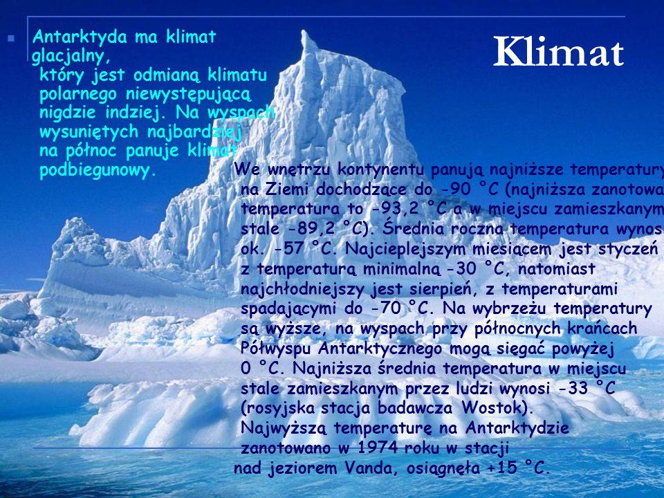 Klimat Antarktyda ma klimat glacjalny, który jest odmianą klimatu polarnego niewystępującą nigdzie indziej. Na wyspach wysuniętych najbardziej na półn