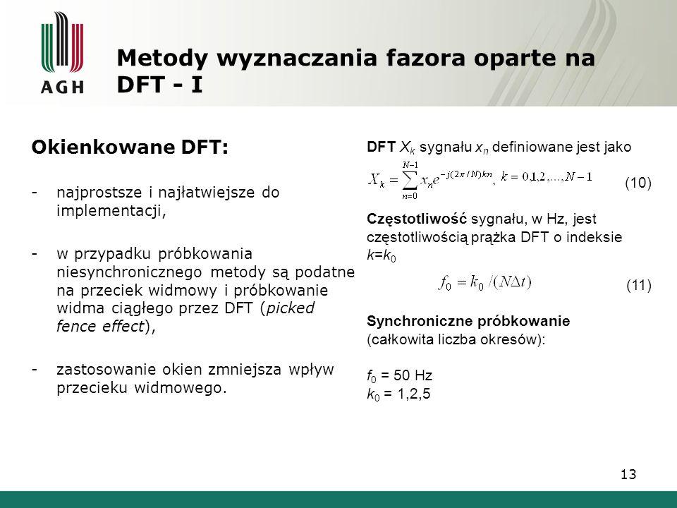 13 Metody wyznaczania fazora oparte na DFT - I Okienkowane DFT: -najprostsze i najłatwiejsze do implementacji, -w przypadku próbkowania niesynchronicz