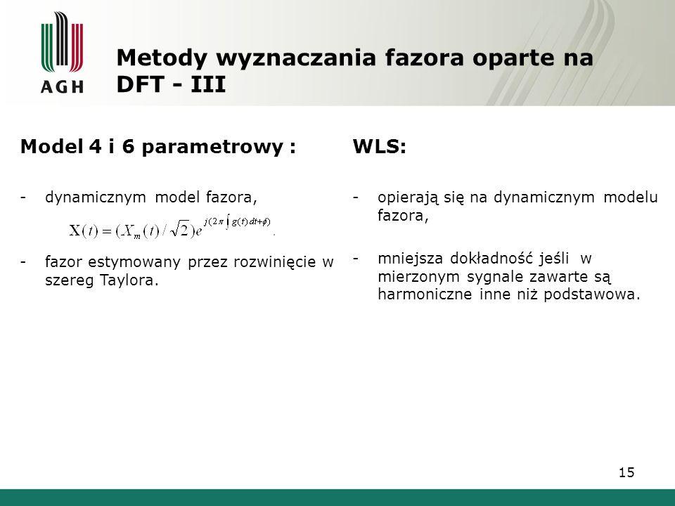 15 Metody wyznaczania fazora oparte na DFT - III Model 4 i 6 parametrowy : -dynamicznym model fazora, -fazor estymowany przez rozwinięcie w szereg Tay