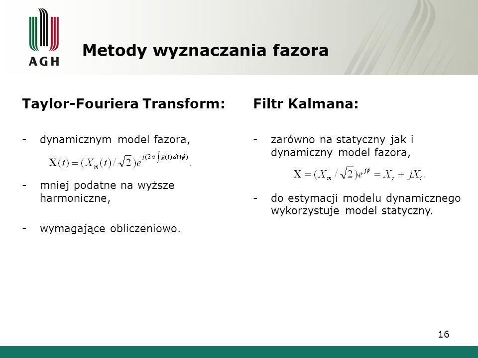 16 Metody wyznaczania fazora Taylor-Fouriera Transform: -dynamicznym model fazora, -mniej podatne na wyższe harmoniczne, -wymagające obliczeniowo. Fil