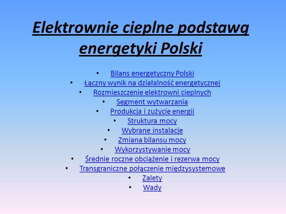 Elektrownie cieplne podstawą energetyki Polski Bilans energetyczny Polski Łączny wynik na działalność energetycznej Rozmieszczenie elektrowni cieplnyc