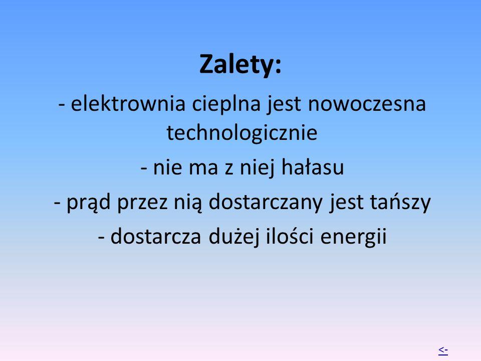 Zalety: - elektrownia cieplna jest nowoczesna technologicznie - nie ma z niej hałasu - prąd przez nią dostarczany jest tańszy - dostarcza dużej ilości