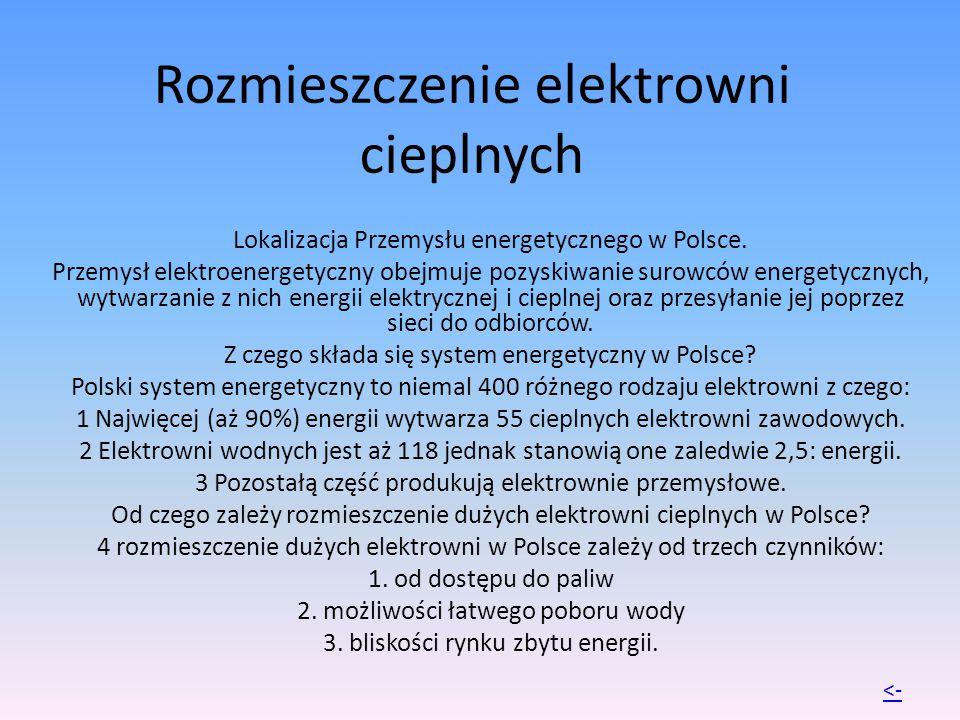 Rozmieszczenie elektrowni cieplnych Lokalizacja Przemysłu energetycznego w Polsce. Przemysł elektroenergetyczny obejmuje pozyskiwanie surowców energet