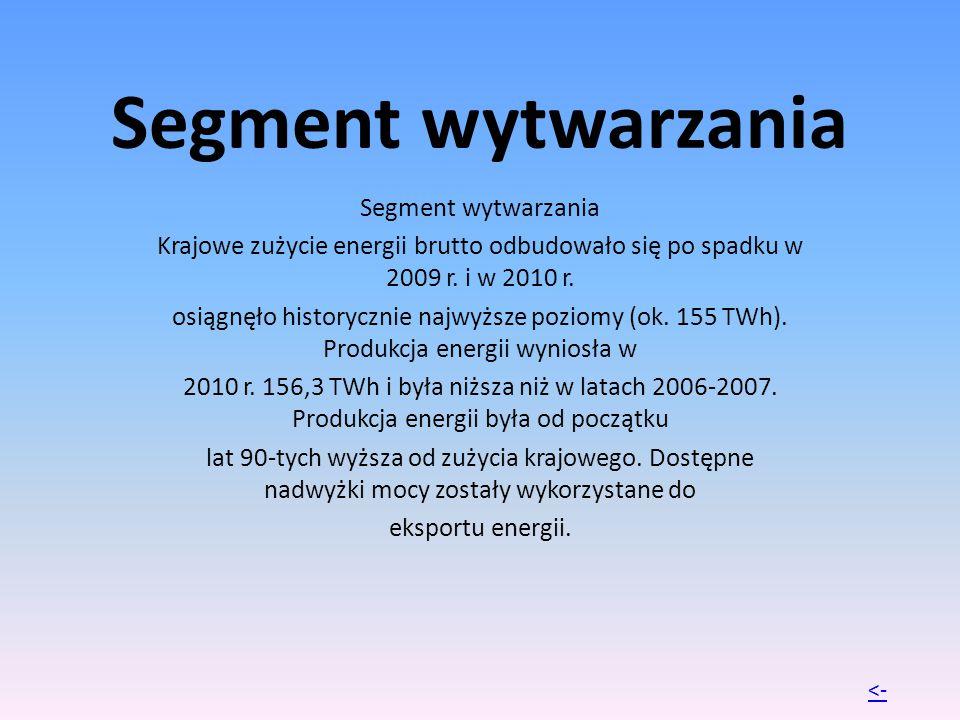 Segment wytwarzania Krajowe zużycie energii brutto odbudowało się po spadku w 2009 r. i w 2010 r. osiągnęło historycznie najwyższe poziomy (ok. 155 TW