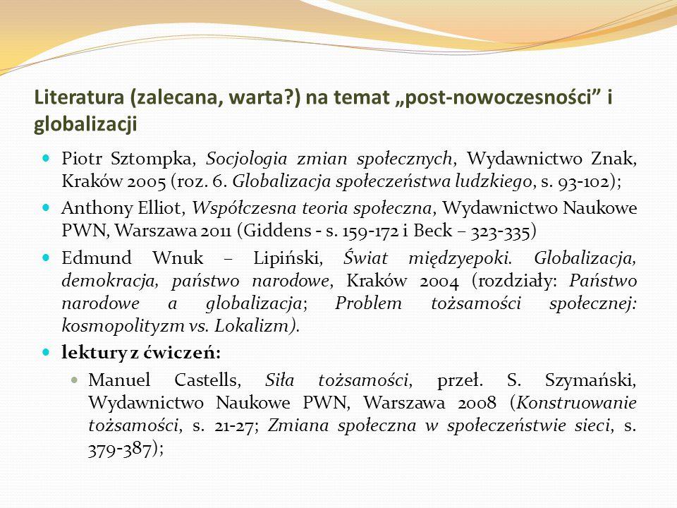 """Literatura (zalecana, warta?) na temat """"post-nowoczesności"""" i globalizacji Piotr Sztompka, Socjologia zmian społecznych, Wydawnictwo Znak, Kraków 2005"""