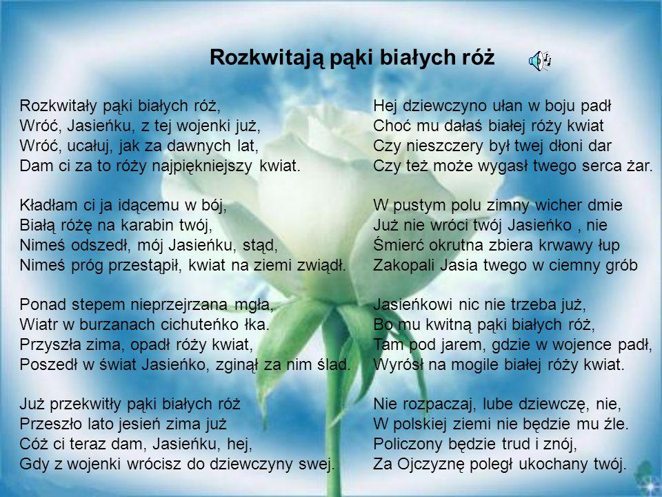 Rozkwitały pąki białych róż, Wróć, Jasieńku, z tej wojenki już, Wróć, ucałuj, jak za dawnych lat, Dam ci za to róży najpiękniejszy kwiat. Kładłam ci j