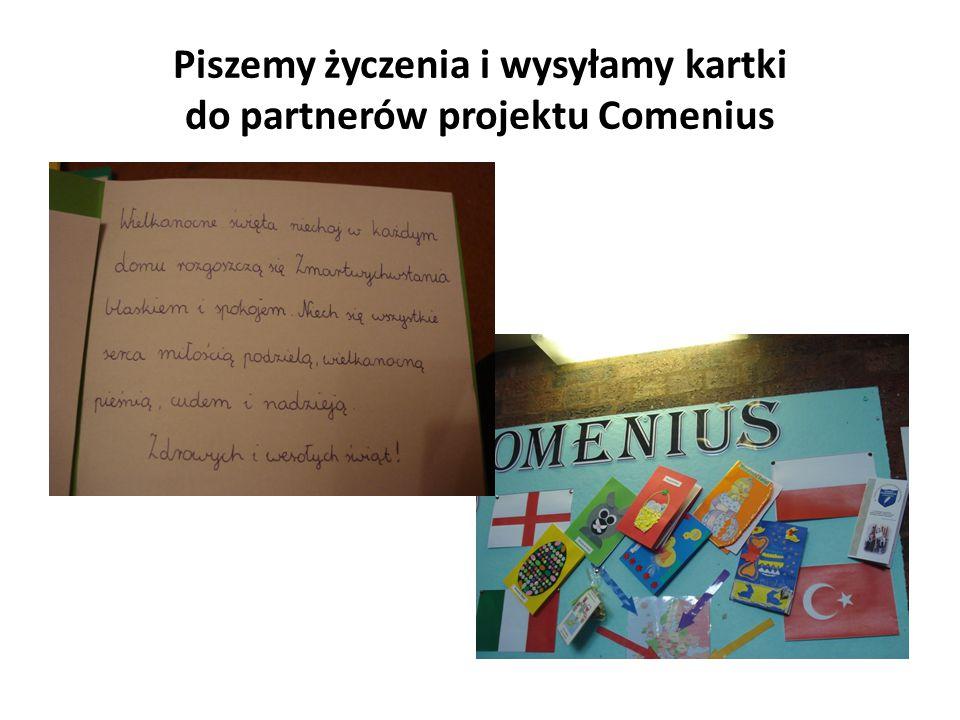 Piszemy życzenia i wysyłamy kartki do partnerów projektu Comenius