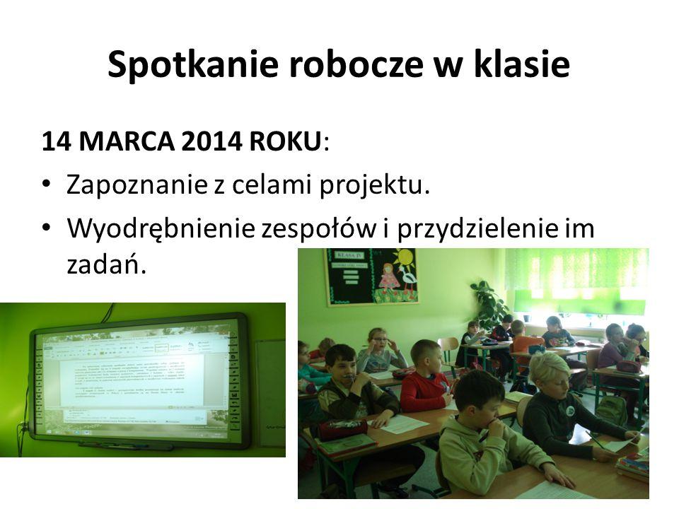 Spotkanie robocze w klasie 14 MARCA 2014 ROKU: Zapoznanie z celami projektu. Wyodrębnienie zespołów i przydzielenie im zadań.