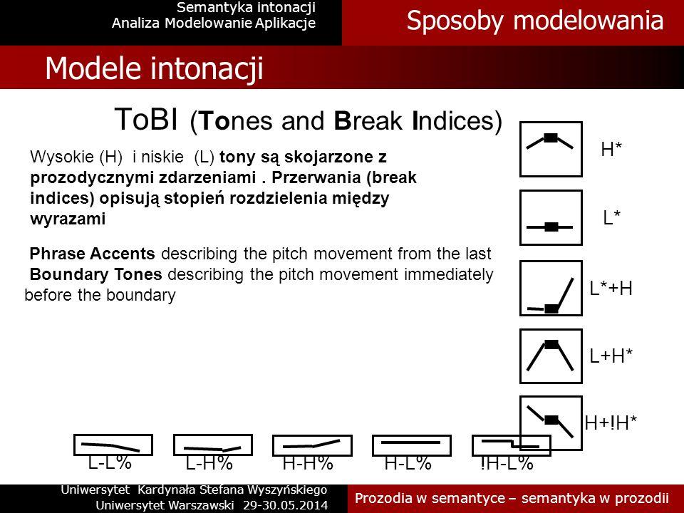 Sposoby modelowania Semantyka intonacji Modele intonacji Modele oparte są na różnych typach danych: akustycznych, percepcyjnych Różny materiał- typy dyskursu Różne typy analiz fizycznych wykładników cech prozodycznych Istnieje wiele modeli intonacji Jest ogólna zgoda w zakresie wystepowania prozodycznej prominencji i prozodycznego frazowania.